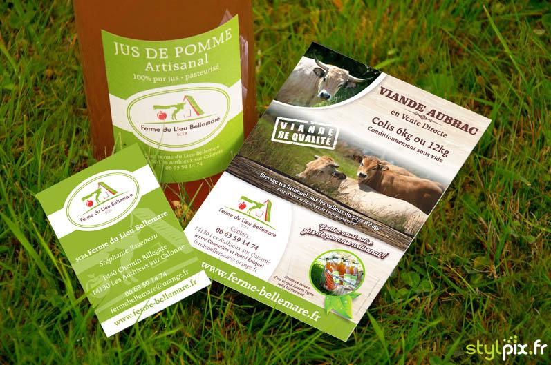 cartes visite flyer étiquettes jus-pomme normandie