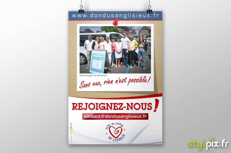 Affiche Don Sang Lisieux bénévoles Calvados
