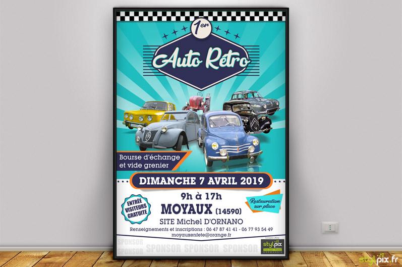 affiches flyers print auto rétro lisieux moyaux
