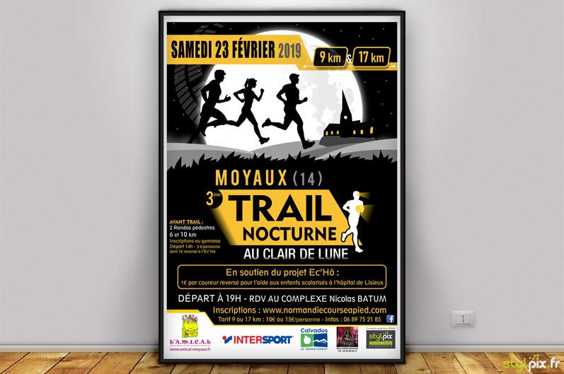 graphiste flyer trail nocturne moyaux lisieux calvados