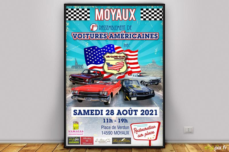 affiche flyer print us cars club normandy calvados